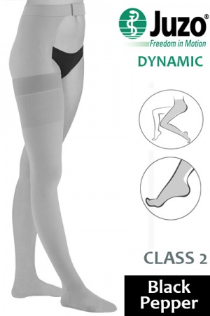 Juzo Dynamic Class 2 Black Pepper Thigh High Compression Stocking with Waist Attachment