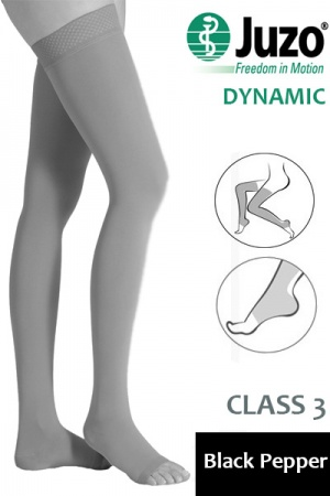 Juzo Dynamic Class 3 Black Pepper Thigh High Compression Stockings with Open Toe and Tricot Border