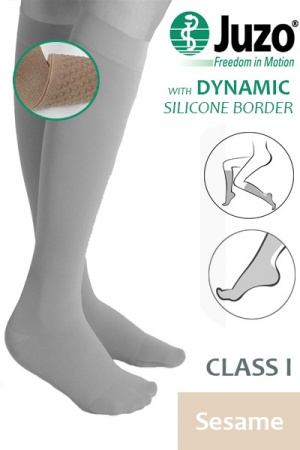 Juzo Dynamic Class 1 Sesame Knee High Compression Stockings with Thin Silicone Border