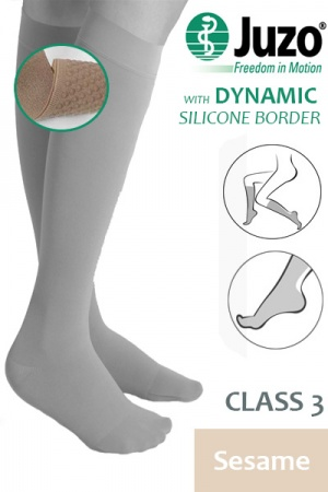 Juzo Dynamic Class 3 Sesame Knee High Compression Stockings with Thin Silicone Border