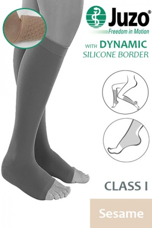 Juzo Dynamic Class 1 Sesame Knee High Compression Stockings with Open Toe and Thin Silicone Border