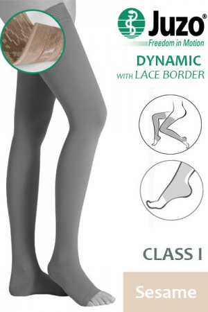 Juzo Dynamic Class 1 Sesame Thigh High Compression Stockings with Open Toe and Lace Silicone Border