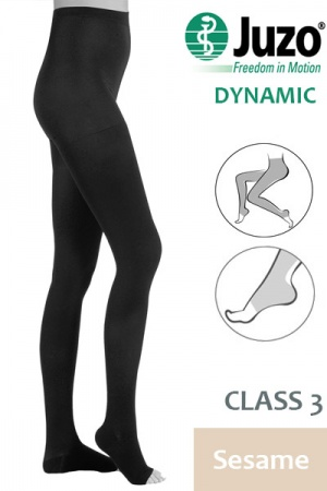 Juzo Dynamic Class 3 Sesame Compression Tights with Open Toe