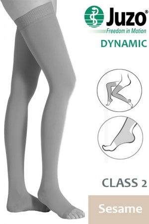 Juzo Dynamic Class 2 Sesame Thigh High Compression Stockings with Open Toe and Tricot Border