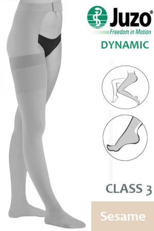 Juzo Dynamic Class 3 Sesame Thigh High Compression Stocking with Waist Attachment