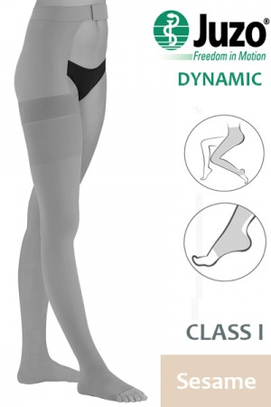 Juzo Dynamic Class 1 Sesame Thigh High Compression Stockings with Open Toe and Waist Attachment