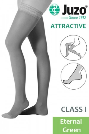Juzo Attractive Class 1 Eternal Green Thigh High Compression Stockings
