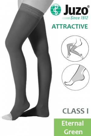 Juzo Attractive Class 1 Eternal Green Thigh High Compression Stockings with Open Toe