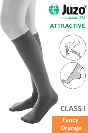 Juzo Attractive Class 1 Fancy Orange Below Knee Compression Stockings