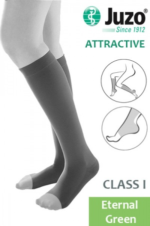 Juzo Attractive Class 1 Eternal Green Below Knee Compression Stocking with Open Toe