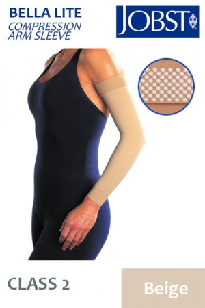 JOBST Bella Lite Compression Class 2 (20 - 30mmHg) Beige Arm Sleeve with Dotted Silicone Band