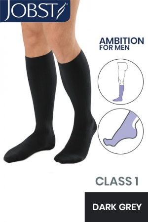 JOBST For Men Ambition RAL Class 1 Dark Grey Below Knee Compression Stockings