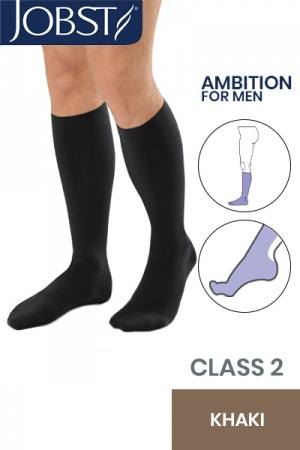 JOBST For Men Ambition Class 2 Khaki Below Knee Compression Stockings