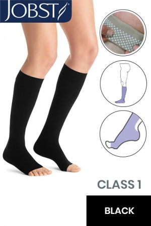 Jobst Opaque Class 1 Black Knee High Compression Stockings with Open Toe and Dotted Silicone Band
