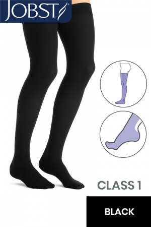 JOBST Opaque RAL Class 1 (18 -  21mmHg) Black Thigh High Compression Stockings