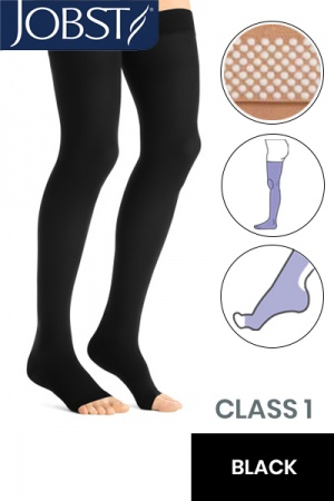 Jobst Opaque Class 1 Black Thigh High Compression Stockings with Open Toe and Dotted Silicone Band