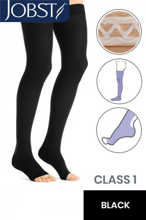 Jobst Opaque Class 1 Black Thigh High Compression Stockings with Open Toe and Lace Silicone Band