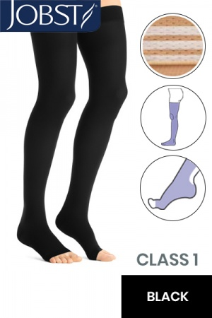 Jobst Opaque Class 1 Black Thigh High Compression Stockings with Open Toe and Soft Silicone Band