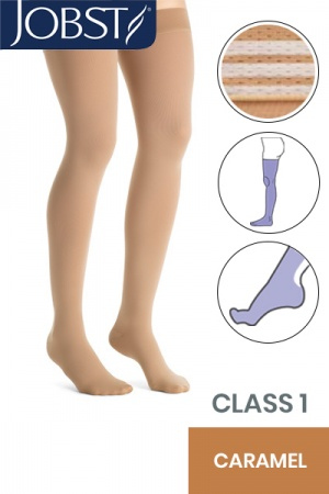 Jobst Opaque Class 1 Caramel Thigh High Compression Stockings with Soft Silicone Band