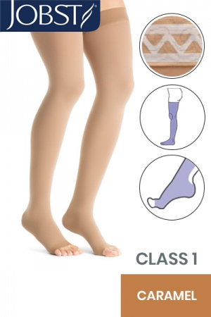 Jobst Opaque Class 1 Caramel Thigh High Compression Stockings with Open Toe and Lace Silicone Band