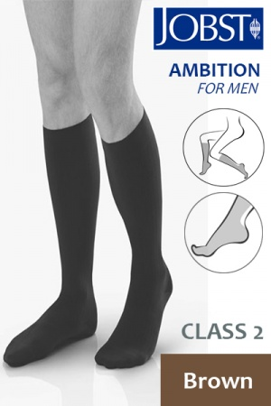 Jobst for Men Ambition Class 2 Brown Below Knee Compression Stockings