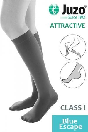 Juzo Attractive Class 1 Blue Escape Below Knee Compression Stockings