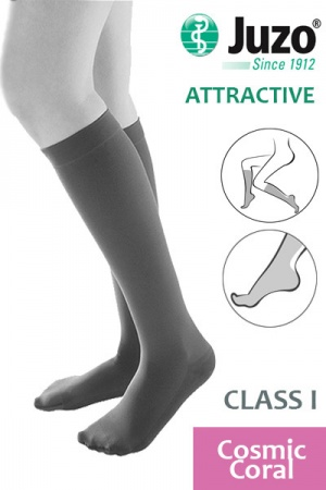 Juzo Attractive Class 1 Cosmic Coral Below Knee Compression Stockings