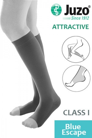 Juzo Attractive Class 1 Blue Escape Below Knee Compression Stockings with Open Toe