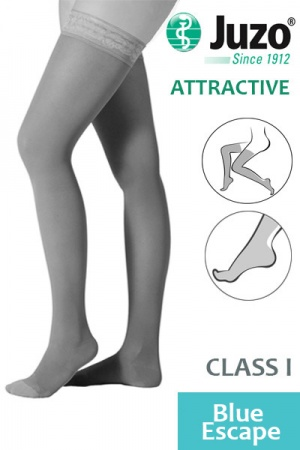 Juzo Attractive Class 1 Blue Escape Thigh High Compression Stockings