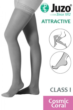 Juzo Attractive Class 1 Comic Coral Thigh High Compression Stockings