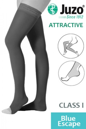 Juzo Attractive Class 1 Blue Escape Thigh High Compression Stockings with Open Toe
