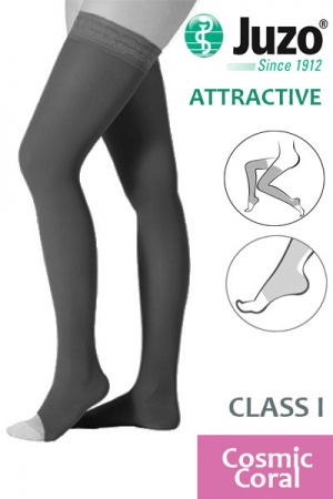 Juzo Attractive Class 1 Cosmic Coral Thigh High Compression Stockings with Open Toe