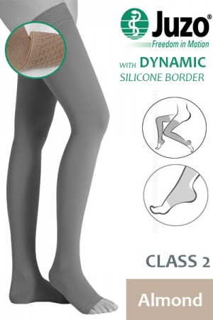Juzo Dynamic Class 2 Almond Thigh High Compression Stockings with Open Toe and Silicone Border