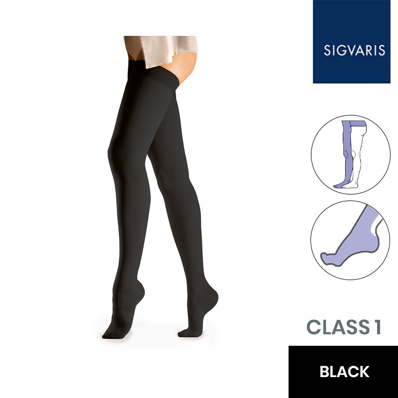 Sigvaris Essential Comfortable Unisex Class 1 Black Compression Tights with Waist Attachment