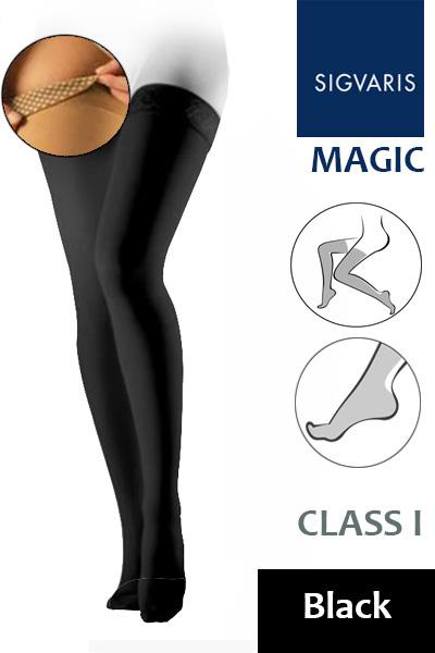 e787da0d68 Sigvaris Magic Class 1 Black Thigh Compression Stockings with Knobbed Grip  Top