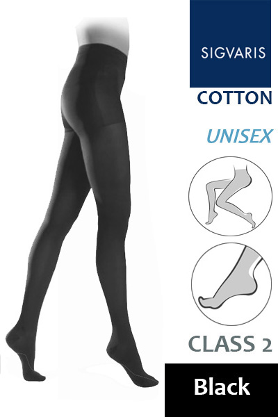 30cbff9a864dc Sigvaris Cotton Class 2 Black Compression Tights - Compression Stockings