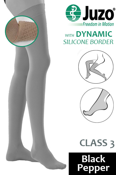 65fc035f38 Juzo Dynamic Class 3 Black Pepper Thigh High Compression Stockings with  Silicone Border