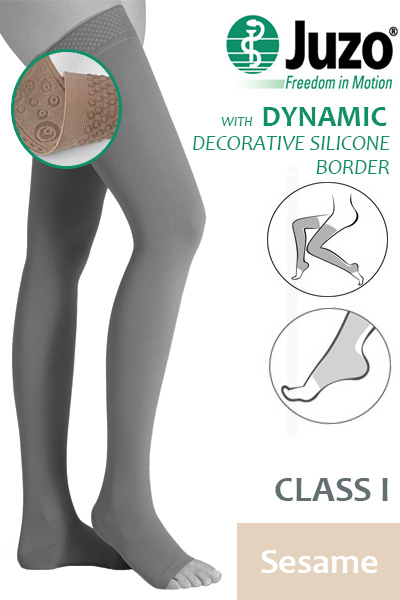 022a7f4038 Juzo Dynamic Class 1 Sesame Thigh High Compression Stockings with Open Toe  and Decorative Silicone Border