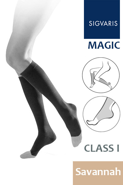 88cb347c59 Sigvaris Magic Class 1 Savannah Calf Compression Stockings with Open Toe