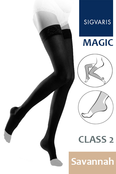 d976b5fd0d Sigvaris Magic Class 2 Savannah Thigh Compression Stockings with Open Toe