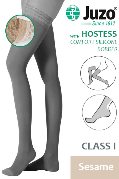 b9694718947597 Juzo Hostess Class 1 Sesame Thigh High Compression Stockings with Comfort  Silicone Border
