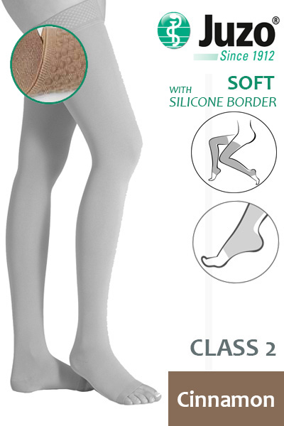 4a169b931f55f3 Juzo Soft Class 2 Cinnamon Thigh Compression Stockings with Open Toe and  Silicone Border