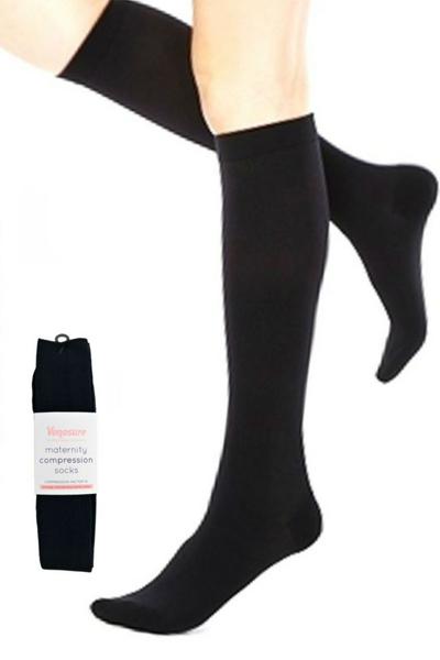 b66816c036 Venosure Onyx Black Maternity Compression Socks (Pack of Two ...