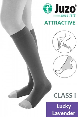 Juzo Attractive Class 1 Lucky Lavender  Below Knee Compression Stockings with Open Toe