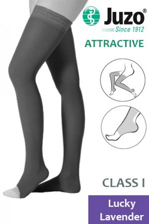 Juzo Attractive Class 1 Lucky Lavender Thigh HIgh Compression Stockings with Open Toe