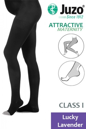 Juzo Attractive Class 1 Lucky Lavender Maternity Compression Tights with Open Toe