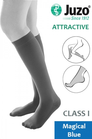 Juzo Attractive Class 1 Magical Blue Below Knee Compression Stockings
