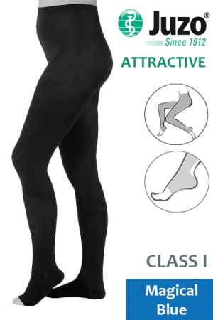 Juzo Attractive Class 1 Magical Blue Compression Tights with Open Toe