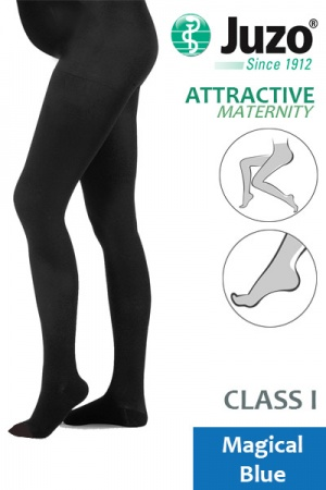 Juzo Attractive Class 1 Magical Blue Maternity Compression Tights with Open Toe