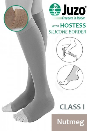 Juzo Hostess Class 1 Nutmeg Knee High Compression Stockings with Open Toe and Thin Silicone Border